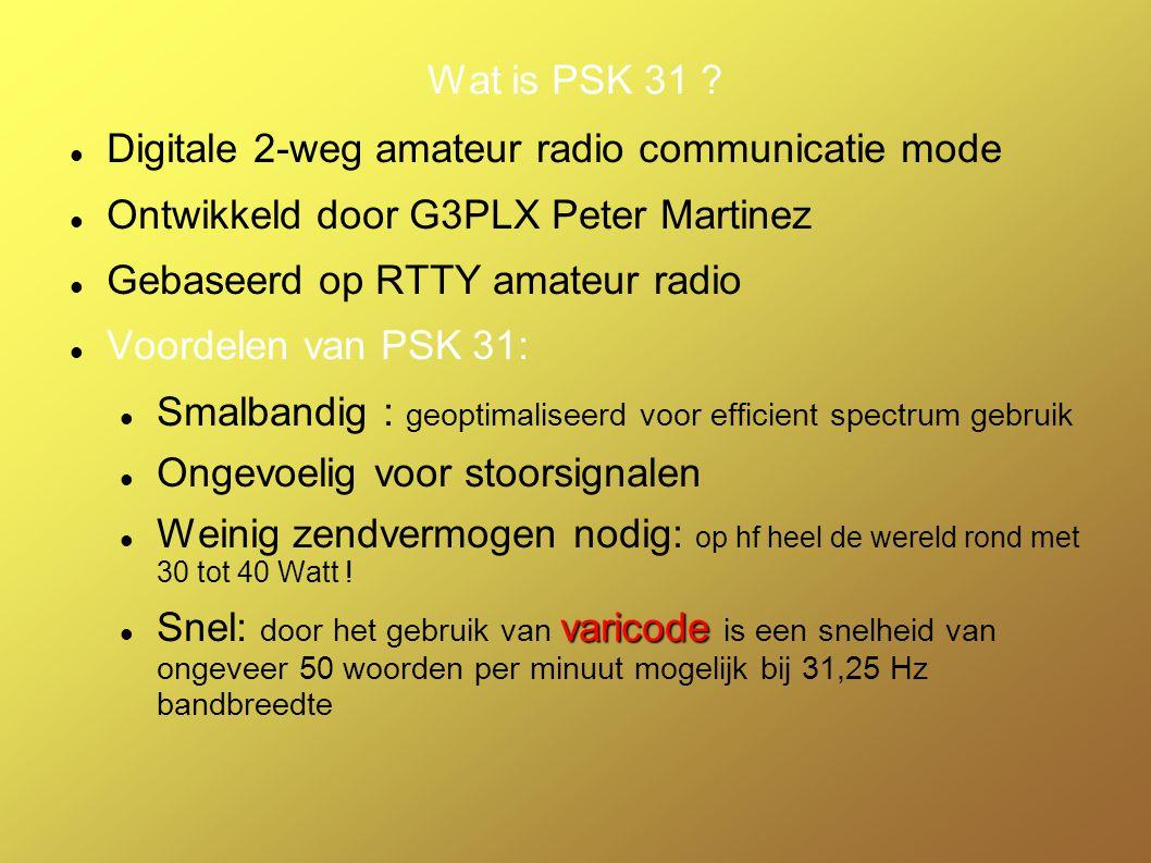 Wat hebben we nodig om in PSK 31 te werken? Zender InterfaceComputer