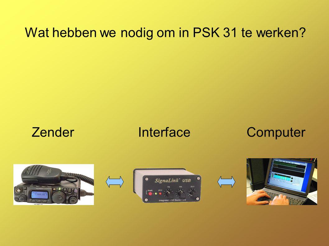 Zender Elke SSB zender kan dienst doen Juiste instellingen :digi mode of USB,LSB afhankelijk van de gebruikte frekwenties Frekwenties toegekend sinds 1 oktober 2009