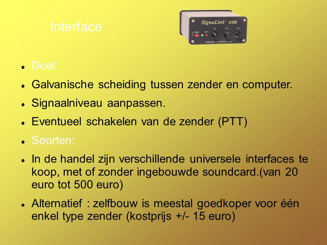 Computer Vereisten: Soundcard nodig voor codering /decodering Com poort voor schakelen RX/TX zender Software: Verschillende programma s te vinden op het net Vb : multipsk, Digipan, Dxpsk....