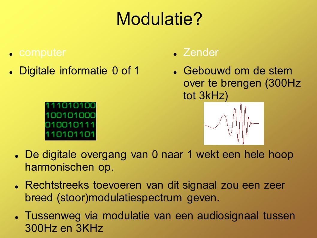 PSK Modulatie: Phase Shift Keying Draaggolf: (carrier) in onze toepassing laagfrekwent toon van bv 1kHz Modulerend signaal: de digitale datastroom.