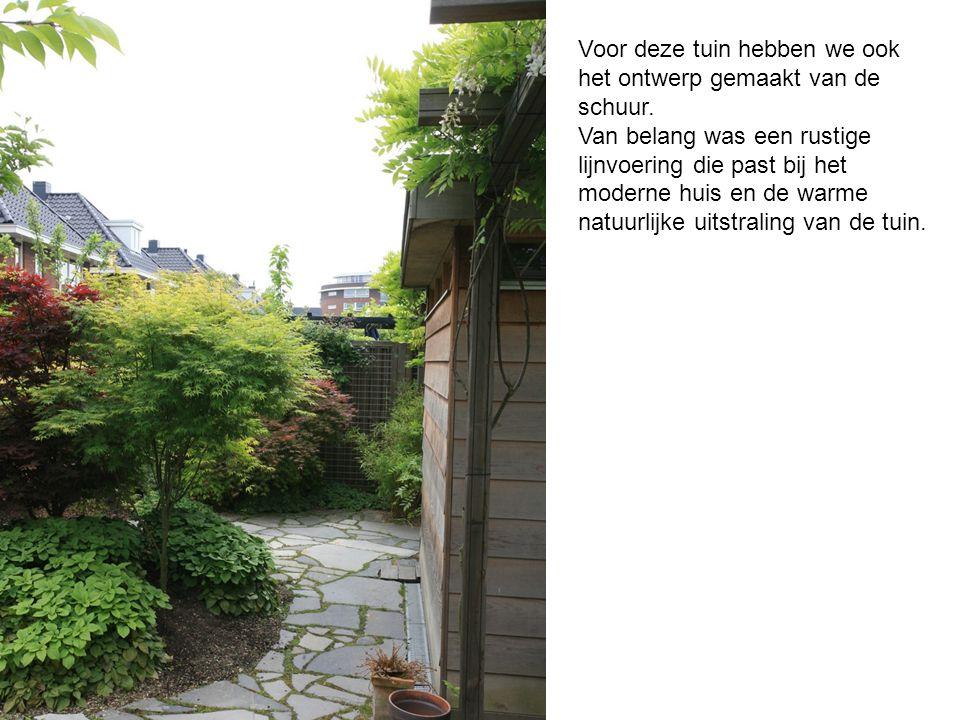 Voor deze tuin hebben we ook het ontwerp gemaakt van de schuur. Van belang was een rustige lijnvoering die past bij het moderne huis en de warme natuu