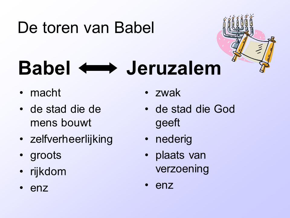 De toren van Babel Babel Jeruzalem macht de stad die de mens bouwt zelfverheerlijking groots rijkdom enz zwak de stad die God geeft nederig plaats van verzoening enz