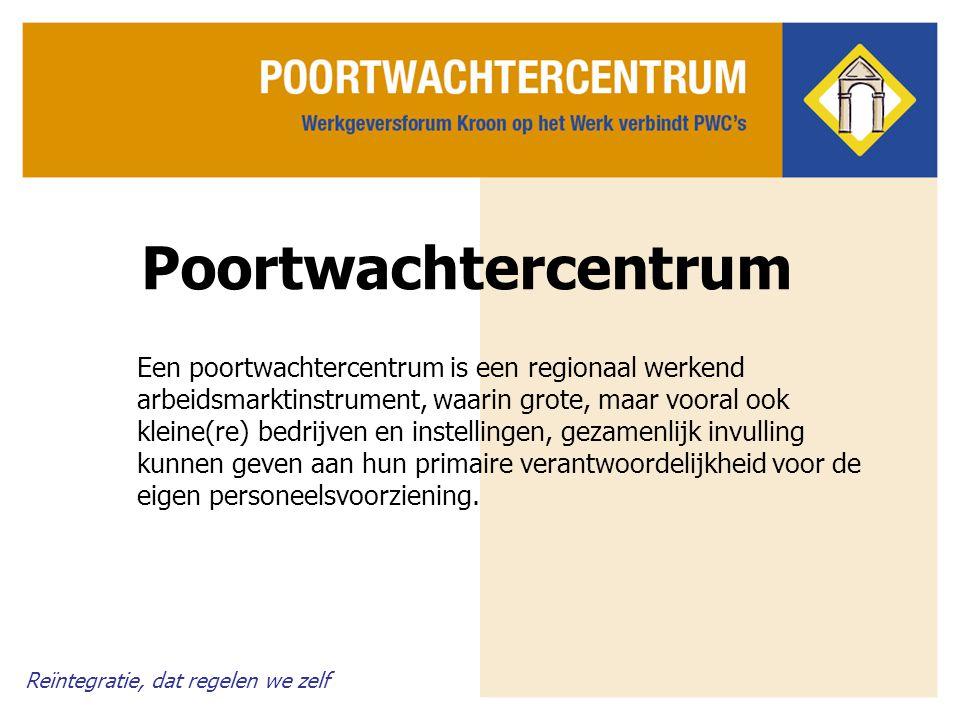 Poortwachtercentrum Een poortwachtercentrum is een regionaal werkend arbeidsmarktinstrument, waarin grote, maar vooral ook kleine(re) bedrijven en ins
