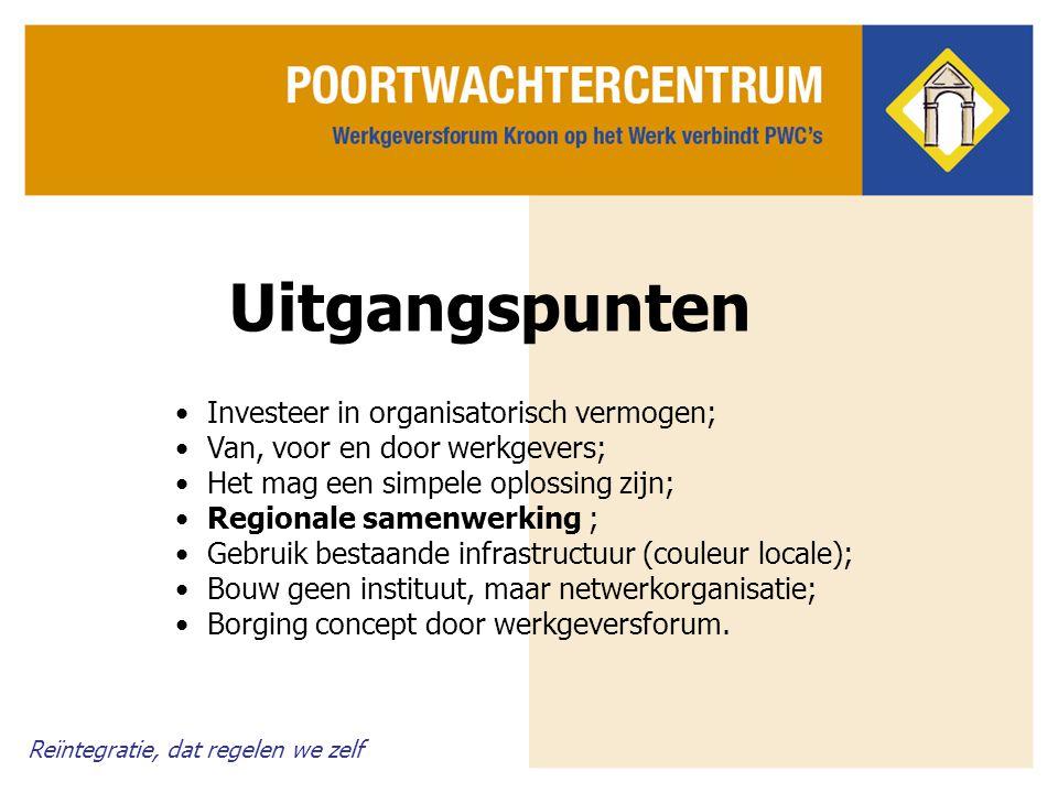 Reïntegratie, dat regelen we zelf Overige belangrijke kenmerken De rol van commerciële bedrijven en partijen als gemeenten, het CWI en het UWV zijn niet trekkend, maar ondersteunend.