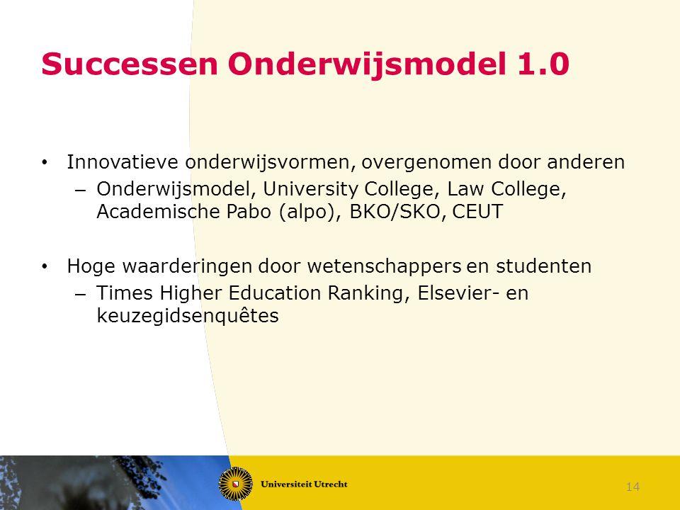 14 Successen Onderwijsmodel 1.0 Innovatieve onderwijsvormen, overgenomen door anderen – Onderwijsmodel, University College, Law College, Academische P