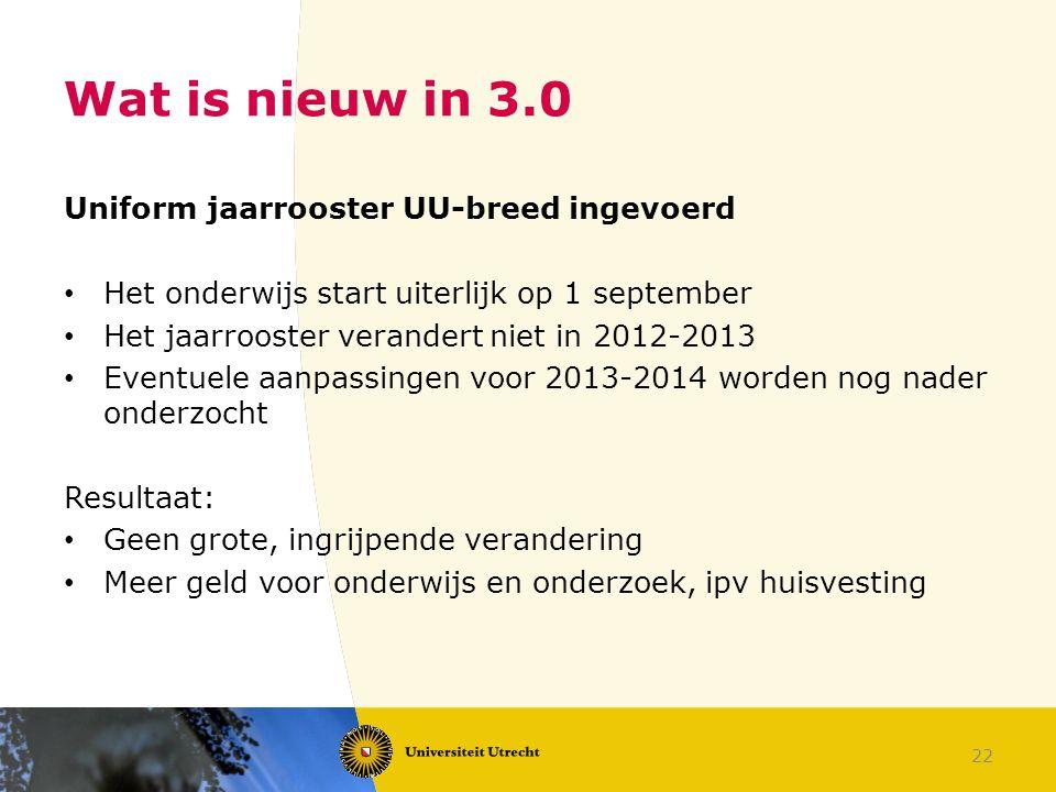 22 Wat is nieuw in 3.0 Uniform jaarrooster UU-breed ingevoerd Het onderwijs start uiterlijk op 1 september Het jaarrooster verandert niet in 2012-2013