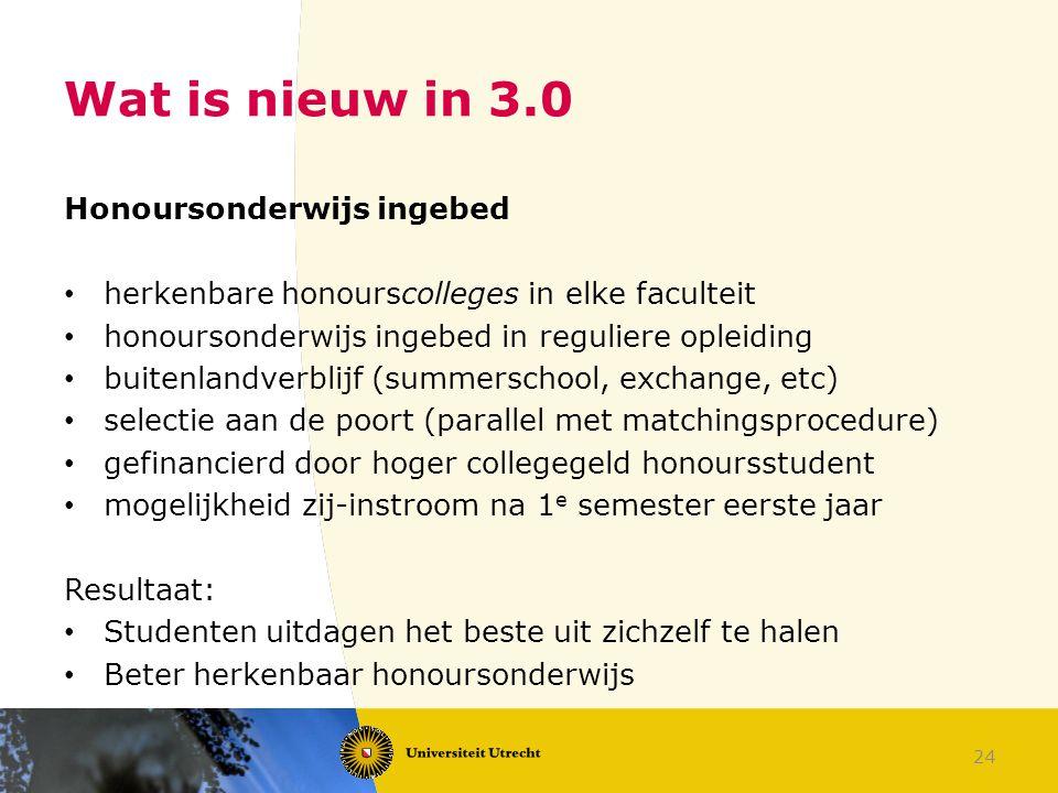 24 Wat is nieuw in 3.0 Honoursonderwijs ingebed herkenbare honourscolleges in elke faculteit honoursonderwijs ingebed in reguliere opleiding buitenlan