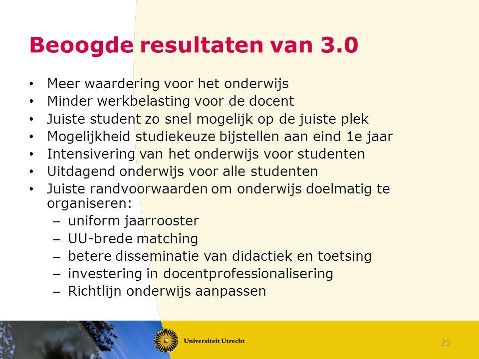 25 Beoogde resultaten van 3.0 Meer waardering voor het onderwijs Minder werkbelasting voor de docent Juiste student zo snel mogelijk op de juiste plek