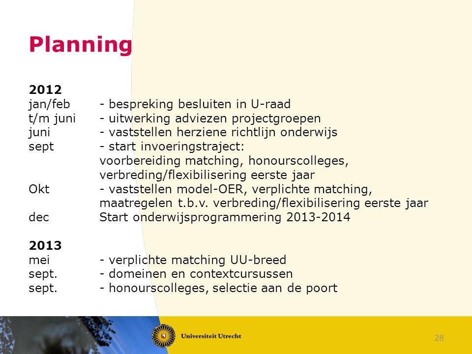 28 Planning 2012 jan/feb- bespreking besluiten in U-raad t/m juni- uitwerking adviezen projectgroepen juni- vaststellen herziene richtlijn onderwijs s