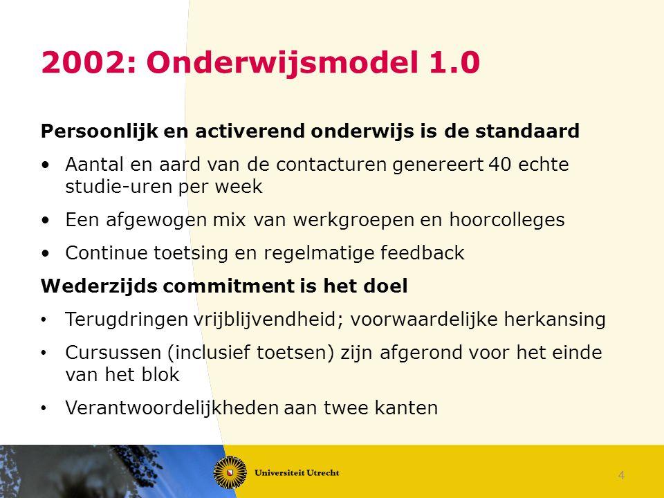 4 2002: Onderwijsmodel 1.0 Persoonlijk en activerend onderwijs is de standaard Aantal en aard van de contacturen genereert 40 echte studie-uren per we