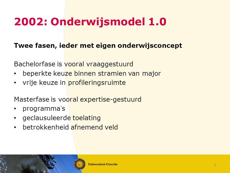 6 2002: Onderwijsmodel 1.0 Twee fasen, ieder met eigen onderwijsconcept Bachelorfase is vooral vraaggestuurd beperkte keuze binnen stramien van major