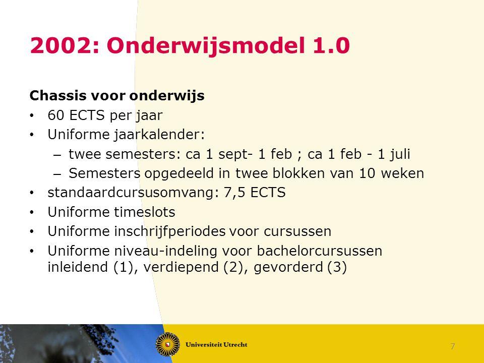 7 2002: Onderwijsmodel 1.0 Chassis voor onderwijs 60 ECTS per jaar Uniforme jaarkalender: – twee semesters: ca 1 sept- 1 feb ; ca 1 feb - 1 juli – Sem
