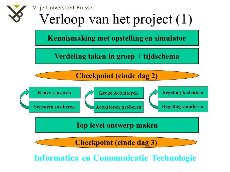 Informatica en Communicatie Technologie Verloop van het project (1) Kennismaking met opstelling en simulator Verdeling taken in groep + tijdschema Top