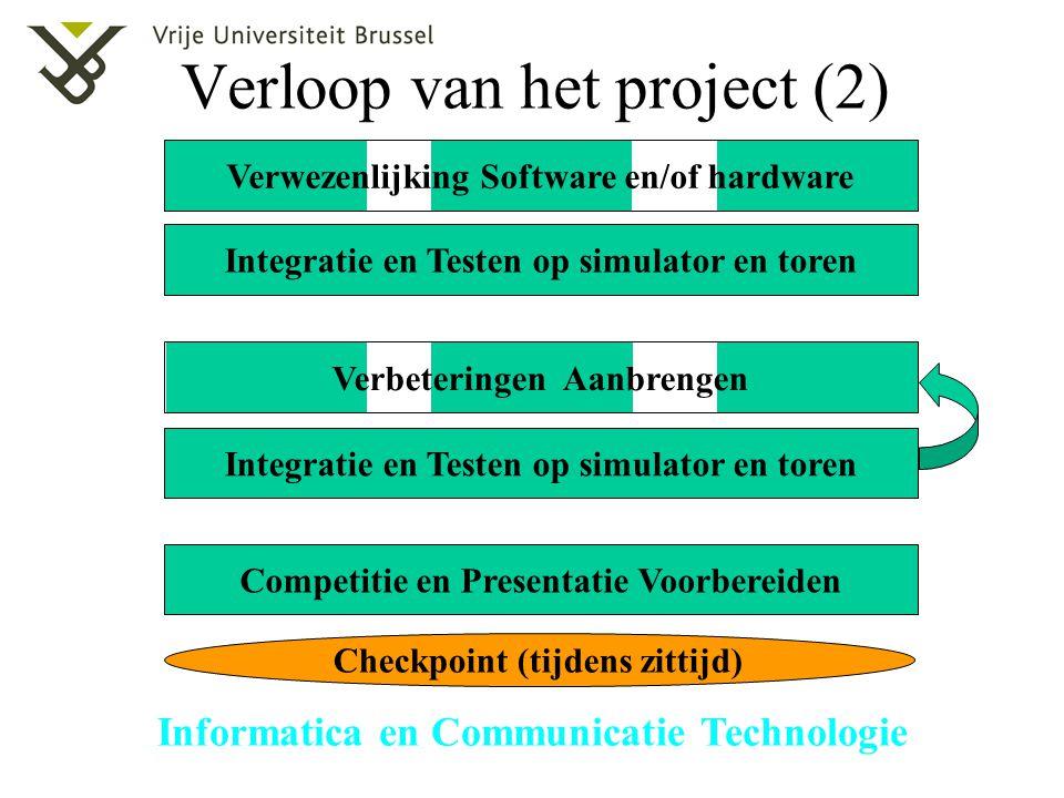 Informatica en Communicatie Technologie Verloop van het project (2) Verwezenlijking Software en/of hardware Integratie en Testen op simulator en toren