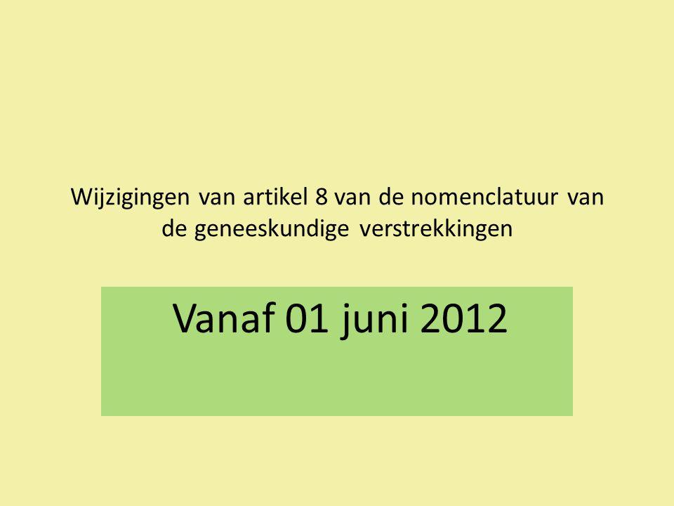 Wijzigingen van artikel 8 van de nomenclatuur van de geneeskundige verstrekkingen Vanaf 01 juni 2012