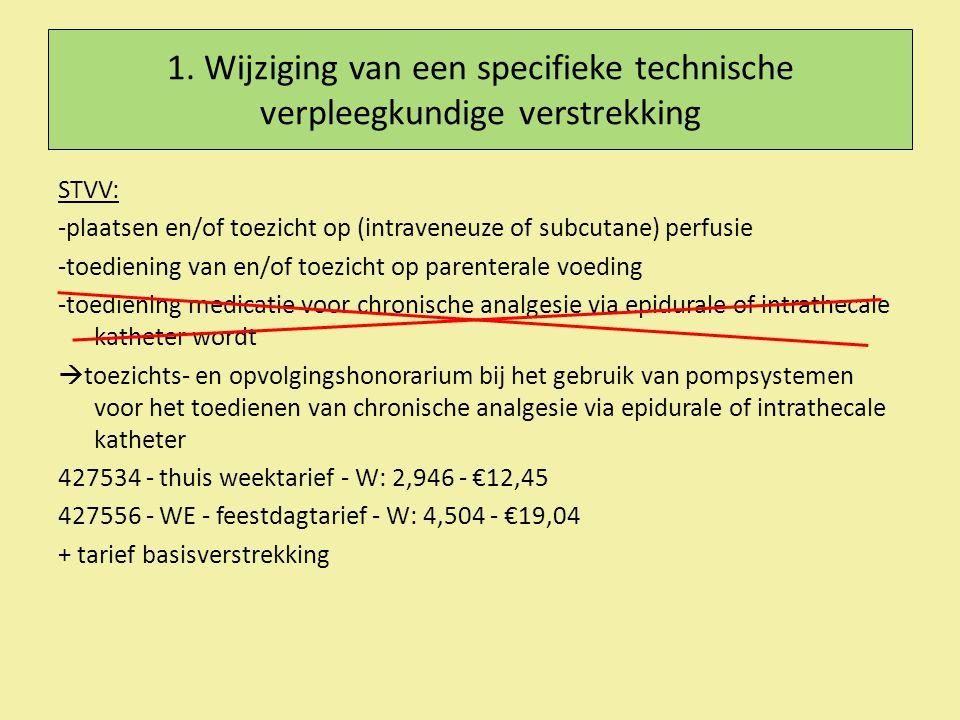 1. Wijziging van een specifieke technische verpleegkundige verstrekking STVV: -plaatsen en/of toezicht op (intraveneuze of subcutane) perfusie -toedie