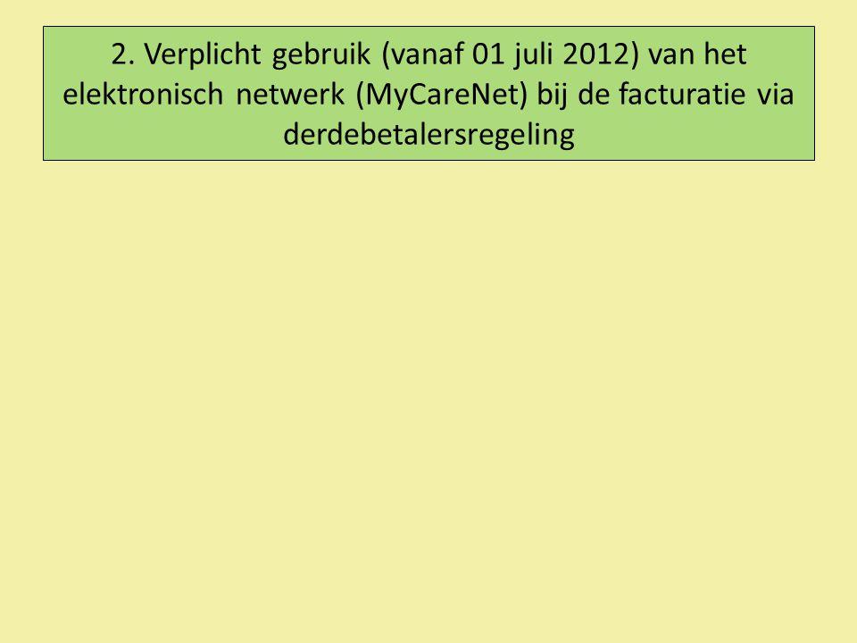2. Verplicht gebruik (vanaf 01 juli 2012) van het elektronisch netwerk (MyCareNet) bij de facturatie via derdebetalersregeling
