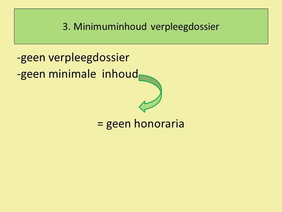 3. Minimuminhoud verpleegdossier -geen verpleegdossier -geen minimale inhoud = geen honoraria