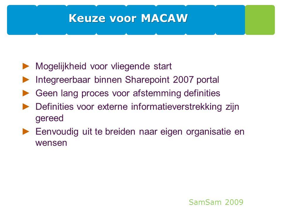 SamSam 2009 Keuze voor MACAW ►Mogelijkheid voor vliegende start ►Integreerbaar binnen Sharepoint 2007 portal ►Geen lang proces voor afstemming definit