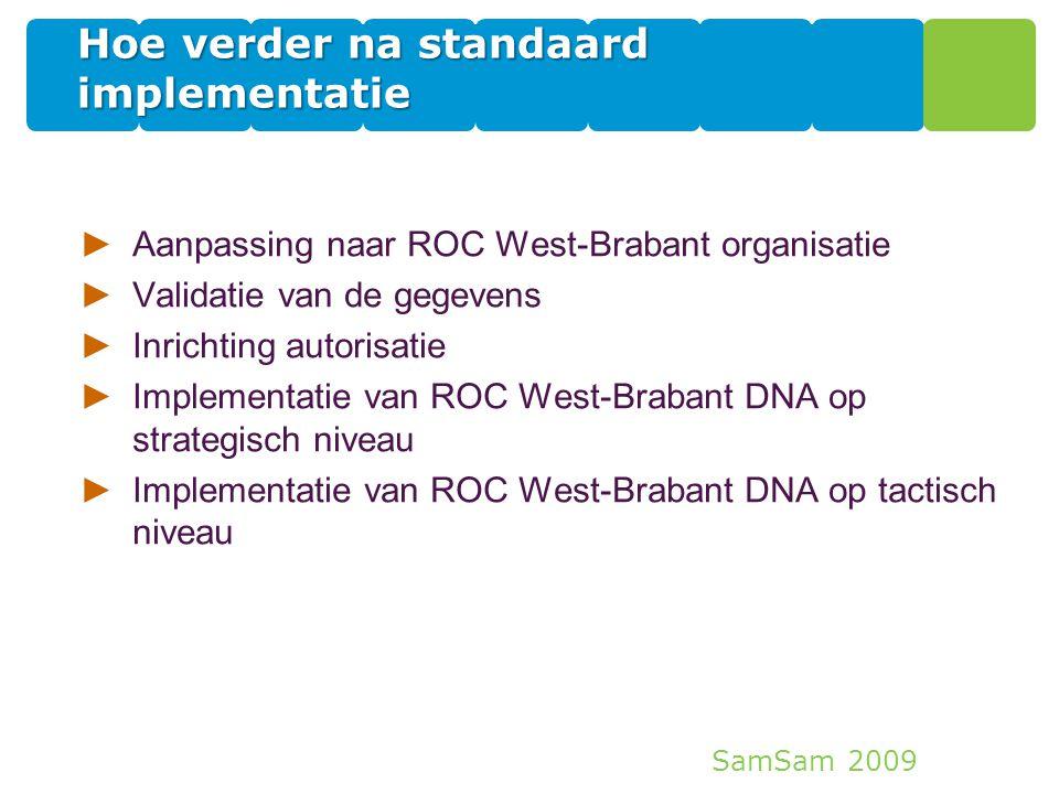 SamSam 2009 Hoe verder na standaard implementatie ►Aanpassing naar ROC West-Brabant organisatie ►Validatie van de gegevens ►Inrichting autorisatie ►Im