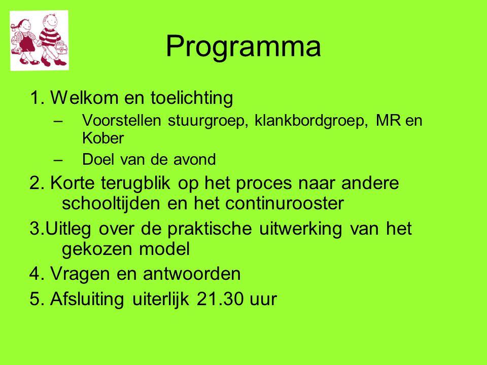 Programma 1. Welkom en toelichting –Voorstellen stuurgroep, klankbordgroep, MR en Kober –Doel van de avond 2. Korte terugblik op het proces naar ander