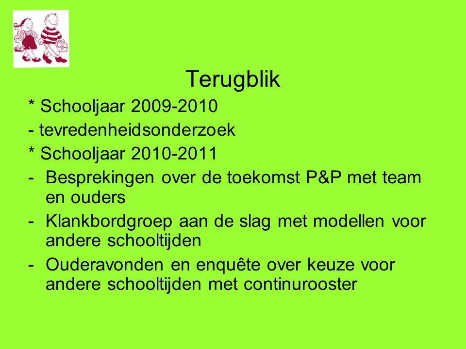 Terugblik * Schooljaar 2009-2010 - tevredenheidsonderzoek * Schooljaar 2010-2011 -Besprekingen over de toekomst P&P met team en ouders -Klankbordgroep