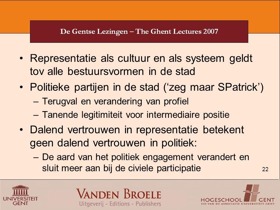 22 Representatie als cultuur en als systeem geldt tov alle bestuursvormen in de stad Politieke partijen in de stad ('zeg maar SPatrick') –Terugval en