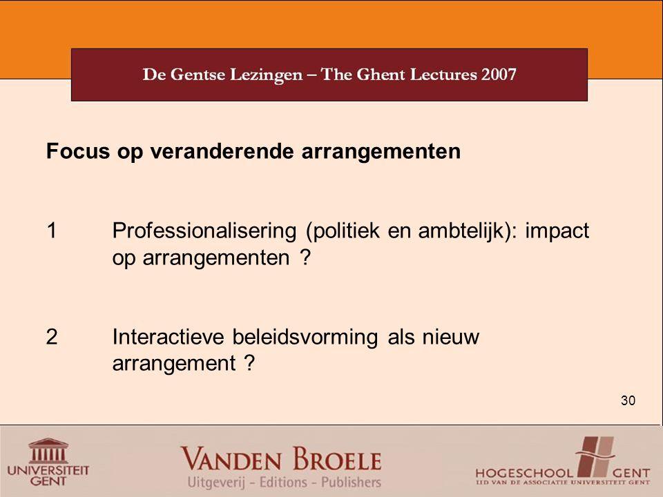 30 Focus op veranderende arrangementen 1Professionalisering (politiek en ambtelijk): impact op arrangementen ? 2Interactieve beleidsvorming als nieuw