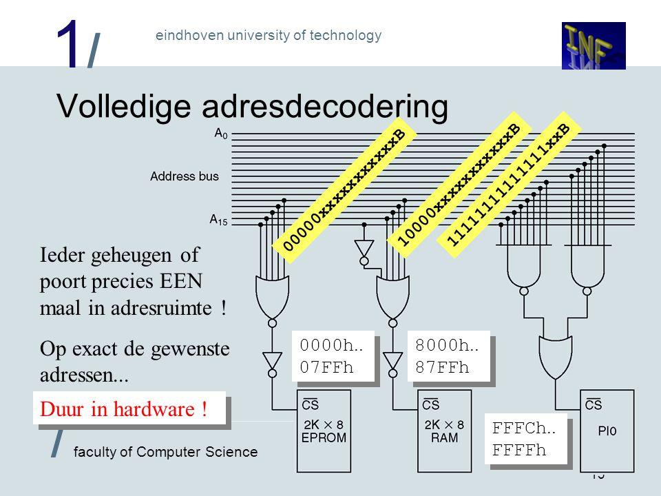 1/1/ eindhoven university of technology / faculty of Computer Science 13 Volledige adresdecodering 00000xxxxxxxxxxxB 10000xxxxxxxxxxxB11111111111111xx