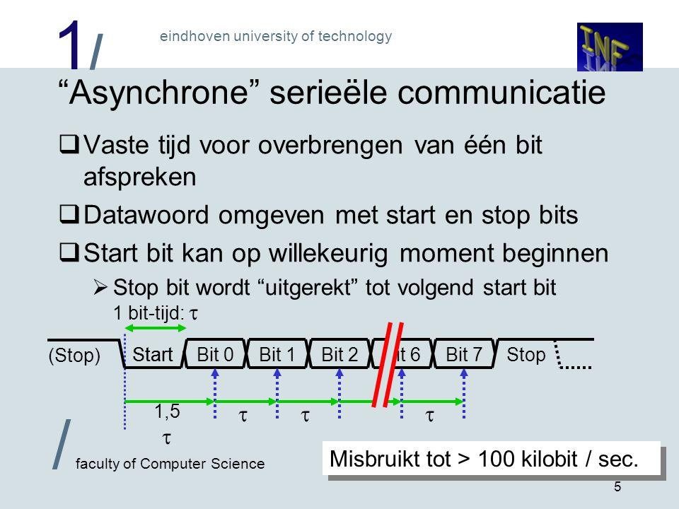 """1/1/ eindhoven university of technology / faculty of Computer Science 5 """"Asynchrone"""" serieële communicatie  Vaste tijd voor overbrengen van één bit a"""
