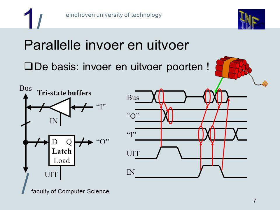 1/1/ eindhoven university of technology / faculty of Computer Science 7 Parallelle invoer en uitvoer  De basis: invoer en uitvoer poorten ! Bus IN Tr