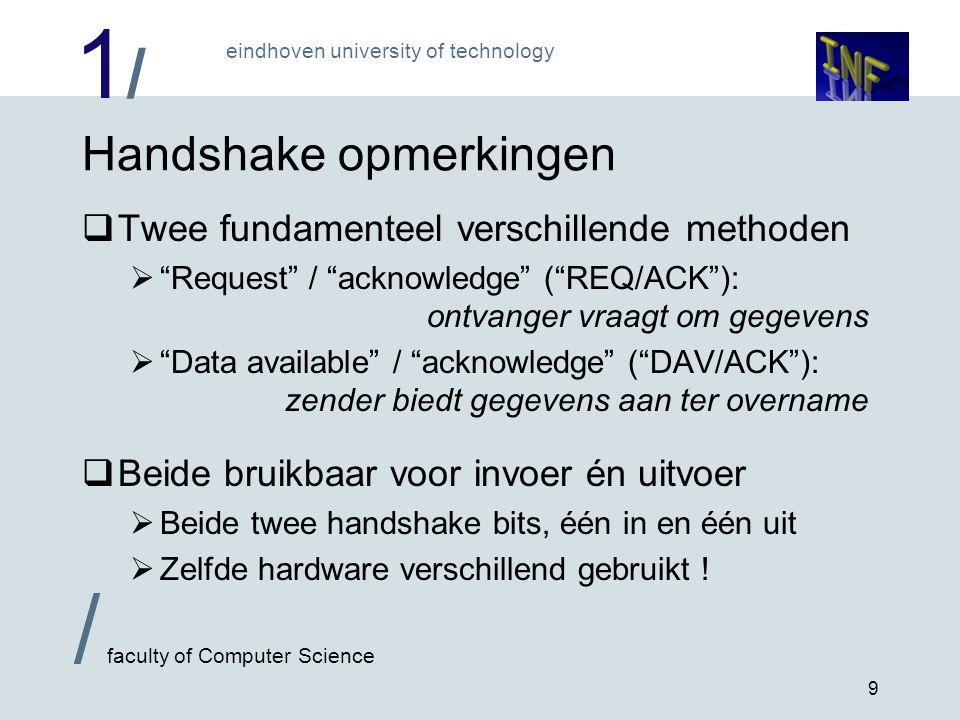 1/1/ eindhoven university of technology / faculty of Computer Science 10 Flowchart DAV/ACK zender Maak DAV inaktief JA Zet data op poortMaak DAV aktief ACK aktief .