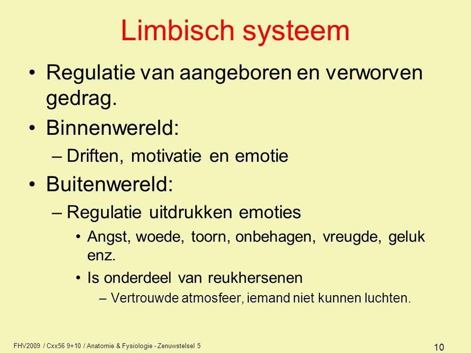 FHV2009 / Cxx56 9+10 / Anatomie & Fysiologie - Zenuwstelsel 5 10 Limbisch systeem Regulatie van aangeboren en verworven gedrag. Binnenwereld: –Driften