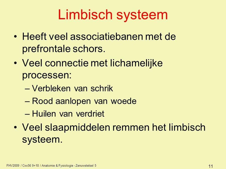 FHV2009 / Cxx56 9+10 / Anatomie & Fysiologie - Zenuwstelsel 5 11 Limbisch systeem Heeft veel associatiebanen met de prefrontale schors. Veel connectie