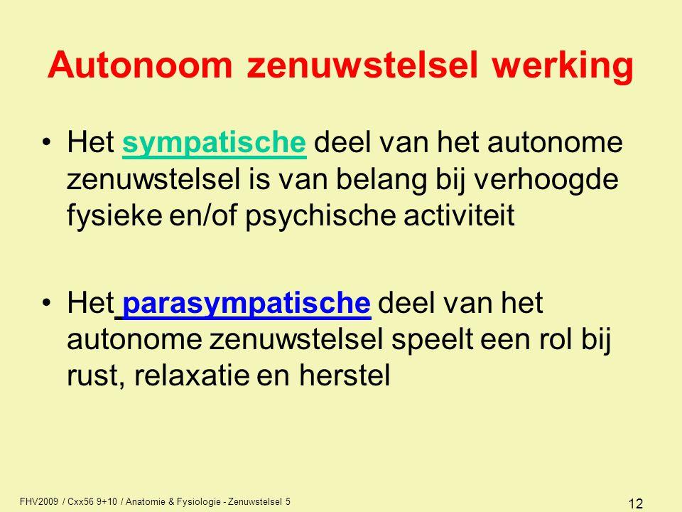 FHV2009 / Cxx56 9+10 / Anatomie & Fysiologie - Zenuwstelsel 5 12 Autonoom zenuwstelsel werking Het sympatische deel van het autonome zenuwstelsel is v
