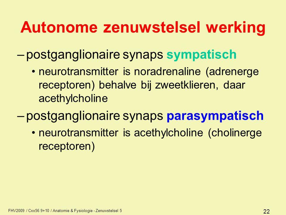 FHV2009 / Cxx56 9+10 / Anatomie & Fysiologie - Zenuwstelsel 5 22 Autonome zenuwstelsel werking –postganglionaire synaps sympatisch neurotransmitter is