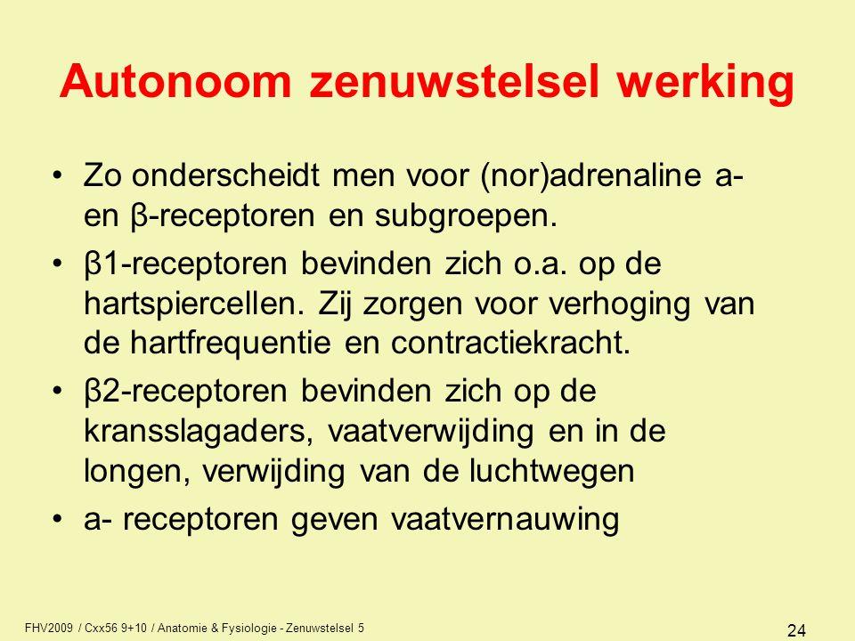 FHV2009 / Cxx56 9+10 / Anatomie & Fysiologie - Zenuwstelsel 5 24 Autonoom zenuwstelsel werking Zo onderscheidt men voor (nor)adrenaline a- en β-recept