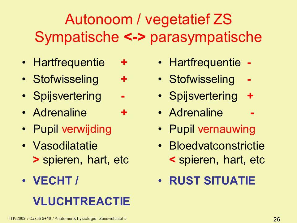 FHV2009 / Cxx56 9+10 / Anatomie & Fysiologie - Zenuwstelsel 5 26 Autonoom / vegetatief ZS Sympatische parasympatische Hartfrequentie + Stofwisseling+