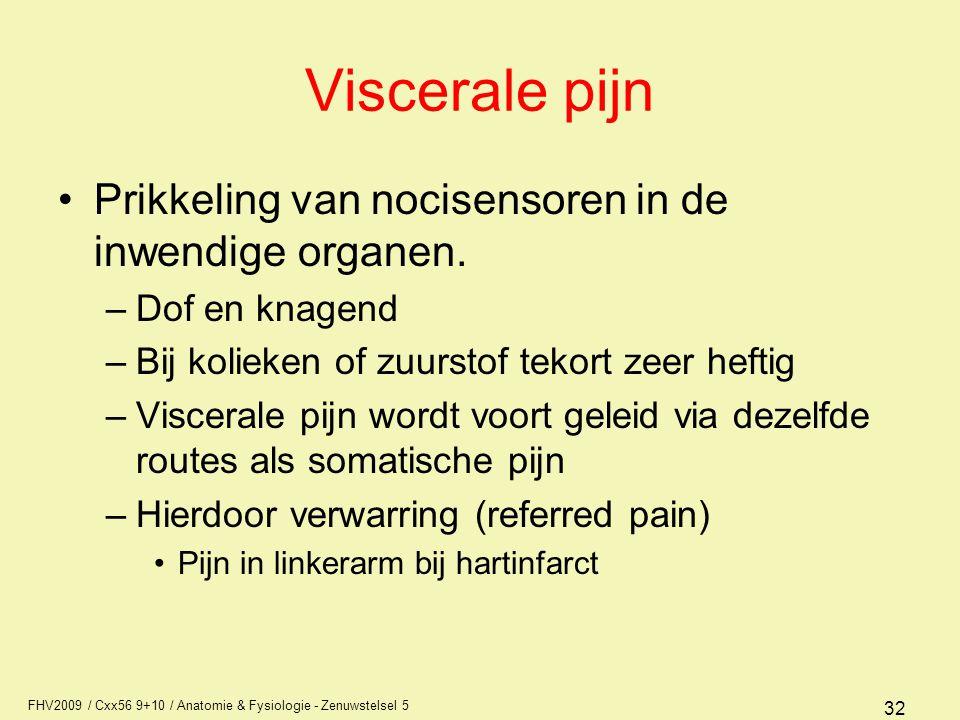 FHV2009 / Cxx56 9+10 / Anatomie & Fysiologie - Zenuwstelsel 5 32 Viscerale pijn Prikkeling van nocisensoren in de inwendige organen. –Dof en knagend –
