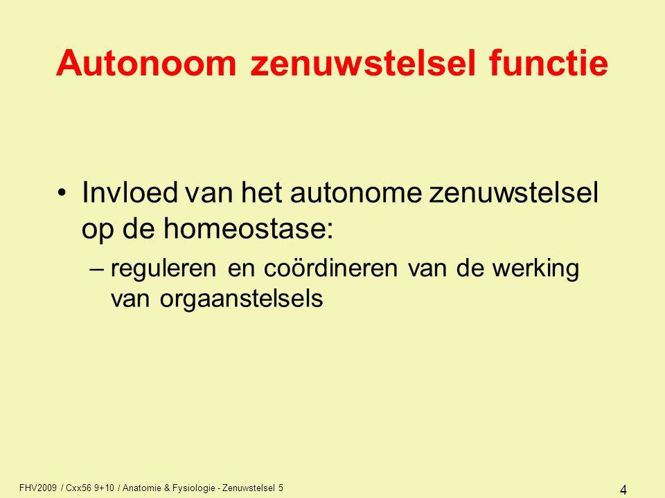 FHV2009 / Cxx56 9+10 / Anatomie & Fysiologie - Zenuwstelsel 5 4 Autonoom zenuwstelsel functie Invloed van het autonome zenuwstelsel op de homeostase: