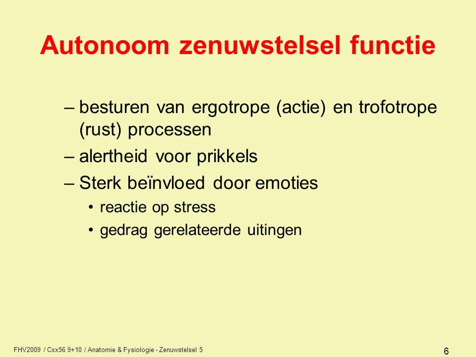FHV2009 / Cxx56 9+10 / Anatomie & Fysiologie - Zenuwstelsel 5 7 Autonoom zenuwstelsel bouw Belangrijke structuren voor besturen van het autonome zenuwstelsel zijn: –hersenstam –tussenhersenen met thalamus, hypothalamus en epithalamus –limbisch systeem