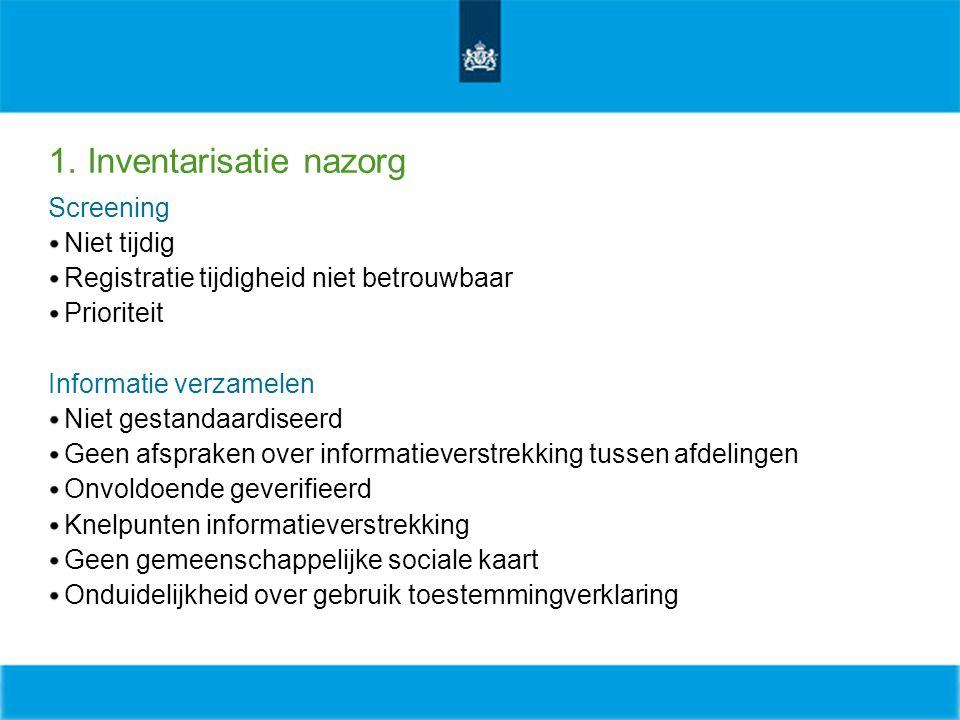 1. Inventarisatie nazorg Screening Niet tijdig Registratie tijdigheid niet betrouwbaar Prioriteit Informatie verzamelen Niet gestandaardiseerd Geen af