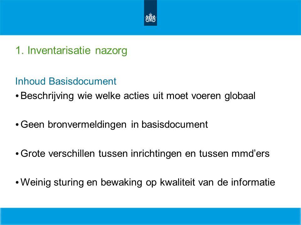 1. Inventarisatie nazorg Inhoud Basisdocument Beschrijving wie welke acties uit moet voeren globaal Geen bronvermeldingen in basisdocument Grote versc