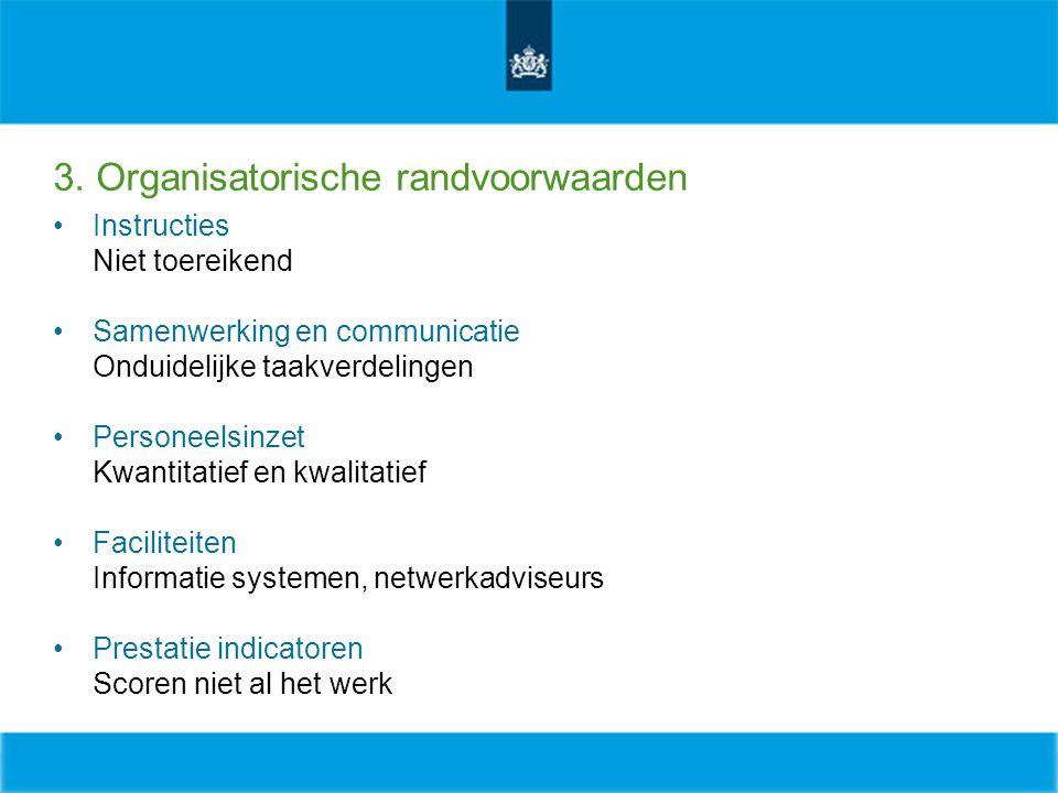 3. Organisatorische randvoorwaarden Instructies Niet toereikend Samenwerking en communicatie Onduidelijke taakverdelingen Personeelsinzet Kwantitatief