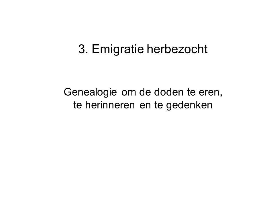 3. Emigratie herbezocht Genealogie om de doden te eren, te herinneren en te gedenken