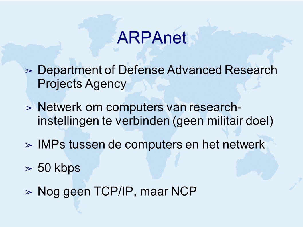 ARPAnet ➢ Department of Defense Advanced Research Projects Agency ➢ Netwerk om computers van research- instellingen te verbinden (geen militair doel) ➢ IMPs tussen de computers en het netwerk ➢ 50 kbps ➢ Nog geen TCP/IP, maar NCP