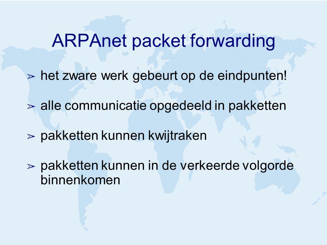 ARPAnet packet forwarding ➢ het zware werk gebeurt op de eindpunten.