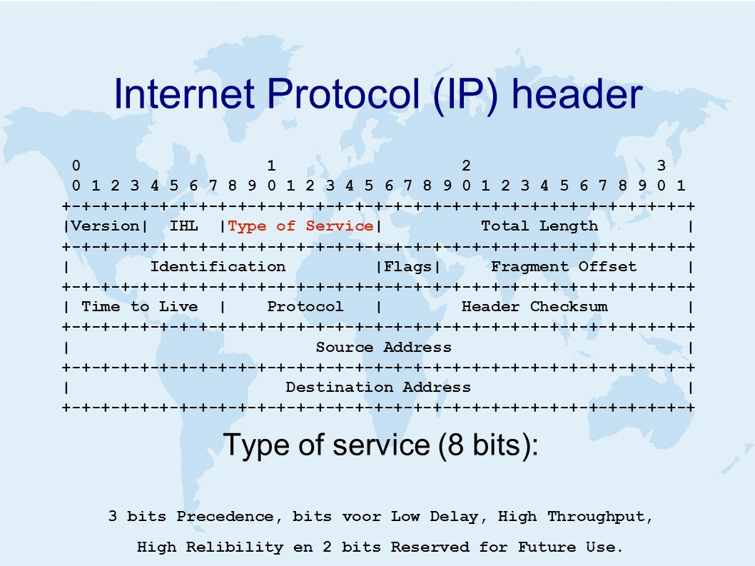 Internet Protocol (IP) header 0 1 2 3 0 1 2 3 4 5 6 7 8 9 0 1 2 3 4 5 6 7 8 9 0 1 2 3 4 5 6 7 8 9 0 1 +-+-+-+-+-+-+-+-+-+-+-+-+-+-+-+-+-+-+-+-+-+-+-+-+-+-+-+-+-+-+-+-+ |Version| IHL |Type of Service| Total Length | +-+-+-+-+-+-+-+-+-+-+-+-+-+-+-+-+-+-+-+-+-+-+-+-+-+-+-+-+-+-+-+-+ | Identification |Flags| Fragment Offset | +-+-+-+-+-+-+-+-+-+-+-+-+-+-+-+-+-+-+-+-+-+-+-+-+-+-+-+-+-+-+-+-+ | Time to Live | Protocol | Header Checksum | +-+-+-+-+-+-+-+-+-+-+-+-+-+-+-+-+-+-+-+-+-+-+-+-+-+-+-+-+-+-+-+-+ | Source Address | +-+-+-+-+-+-+-+-+-+-+-+-+-+-+-+-+-+-+-+-+-+-+-+-+-+-+-+-+-+-+-+-+ | Destination Address | +-+-+-+-+-+-+-+-+-+-+-+-+-+-+-+-+-+-+-+-+-+-+-+-+-+-+-+-+-+-+-+-+ Type of service (8 bits): 3 bits Precedence, bits voor Low Delay, High Throughput, High Relibility en 2 bits Reserved for Future Use.