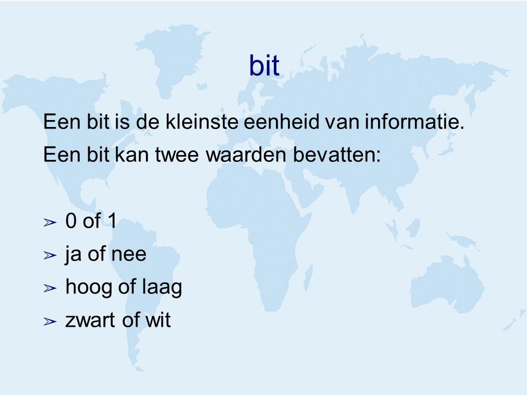 bit Een bit is de kleinste eenheid van informatie.