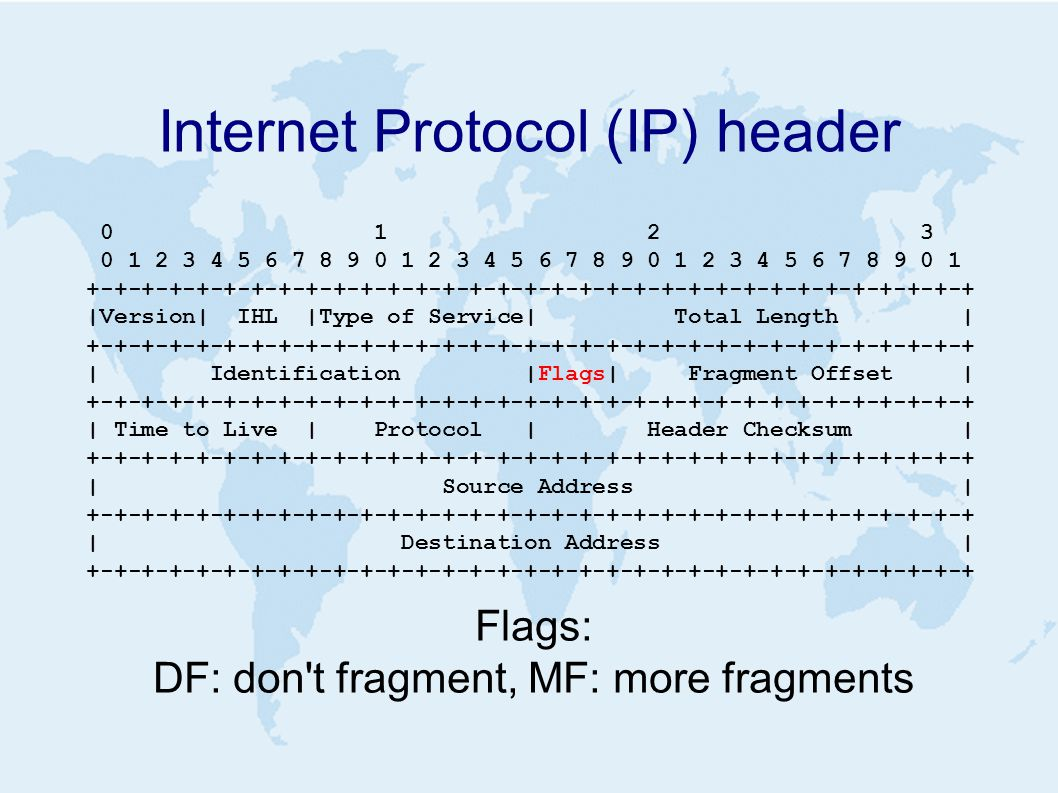 Internet Protocol (IP) header 0 1 2 3 0 1 2 3 4 5 6 7 8 9 0 1 2 3 4 5 6 7 8 9 0 1 2 3 4 5 6 7 8 9 0 1 +-+-+-+-+-+-+-+-+-+-+-+-+-+-+-+-+-+-+-+-+-+-+-+-+-+-+-+-+-+-+-+-+ |Version| IHL |Type of Service| Total Length | +-+-+-+-+-+-+-+-+-+-+-+-+-+-+-+-+-+-+-+-+-+-+-+-+-+-+-+-+-+-+-+-+ | Identification |Flags| Fragment Offset | +-+-+-+-+-+-+-+-+-+-+-+-+-+-+-+-+-+-+-+-+-+-+-+-+-+-+-+-+-+-+-+-+ | Time to Live | Protocol | Header Checksum | +-+-+-+-+-+-+-+-+-+-+-+-+-+-+-+-+-+-+-+-+-+-+-+-+-+-+-+-+-+-+-+-+ | Source Address | +-+-+-+-+-+-+-+-+-+-+-+-+-+-+-+-+-+-+-+-+-+-+-+-+-+-+-+-+-+-+-+-+ | Destination Address | +-+-+-+-+-+-+-+-+-+-+-+-+-+-+-+-+-+-+-+-+-+-+-+-+-+-+-+-+-+-+-+-+ Flags: DF: don t fragment, MF: more fragments